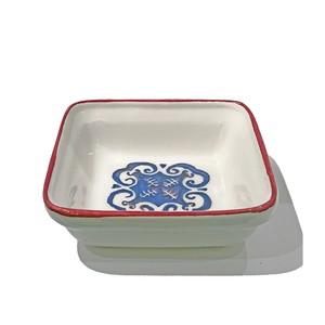 小皿 (正方形) ブルーxホワイト(赤縁)