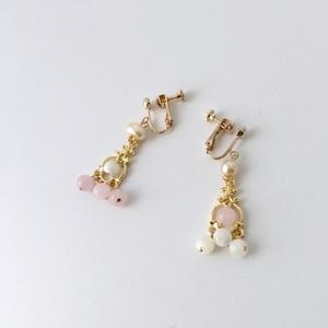 【恋愛運&癒しUP】マザーオブパール&ローズクォーツのイヤリングorピアス