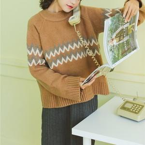 【yukko__gram様紹介】2色/ノルディック柄ニットセーター ・4331
