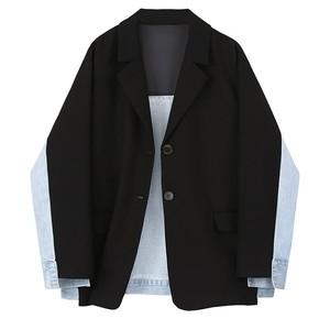 デニムパッチワークシンプルジャケット  1X208
