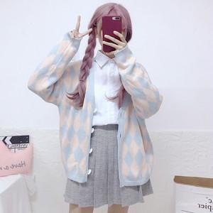 【トップス】日系少女スウィートキュート清新チェック柄カーディガン