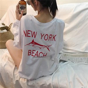 NY beach loose long T shirts 3123