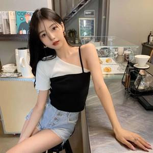 【トップス】ファッション半袖ワンショルダープルオーバーショート丈Tシャツ45717760
