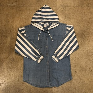 Stripe Chambray Hoodie ¥7,600+tax