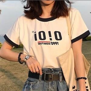 「トップス」簡約アルファベットラウンドネック半袖Tシャツ21847957