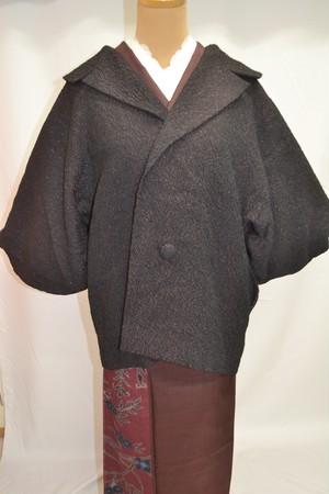 黒の膨れ織に赤のラメ☆着物コート