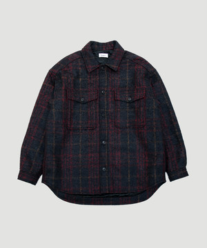Lownn Quilted Over Shirt Black Red 19AW-LOW-QOS