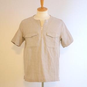 Linen Half Zip Pullover Beige
