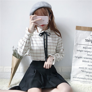 【トップス】リボンスピーカースリーブレトロチェック柄POLOネック長袖シャツ