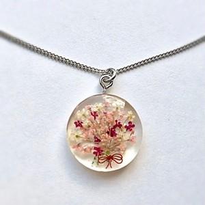 ミニチュア花束のシルバーネックレス Unique miniature flower bouquet silver plated necklace