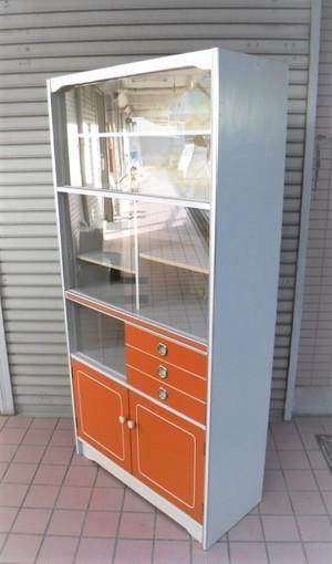 レトロなワイド食器棚【90/オレンジ】(1001101E)