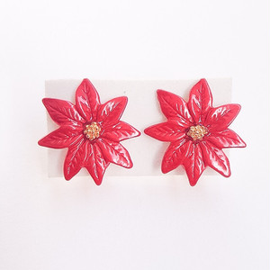 """AVON"" Red Poinsettia earring[e-330]"