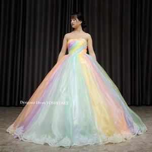 オーガンジー素材を使用したレインボープリンセスドレス(パニエ付)披露宴.演奏会