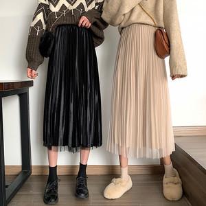 【 ボトムス】ファッションベルベット生地プリーツスカート26720265