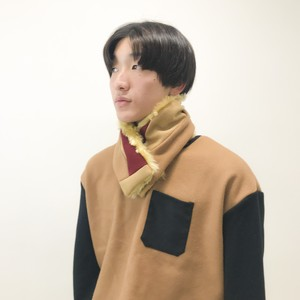 MIX NECK WARMER / CAMEL×RED