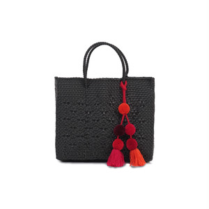 MERCADO ROMBO with POMPOM - BLACK(XS) with RED MIX