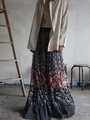 70s cotton patchwork skirt
