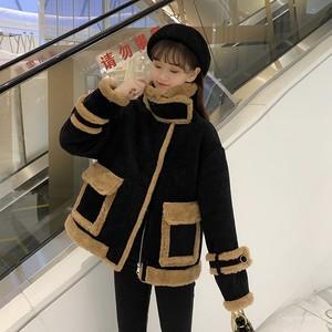 【アウター】ファッションレトロ切り替えスエードスタンドネックジッパーアウター