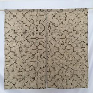 のれん06  80x77cm 草木染め 暖簾 アマゾン・シピボ族の泥染め 薄茶ミックス