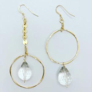 Crystal Quartz Hoop Earrings 14KGF