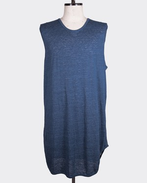 T/f linen jersey sleeveless top - indigo
