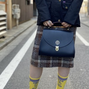 Poppy QEST Bag in Grain Leather Navy