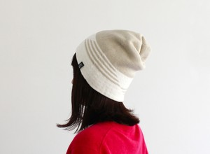 % PERCENT ニット帽 (秋冬用・リバーシブル)ベージュ70%・ホワイト30%(男女兼用)/セルフヒーター・ホールガーメント