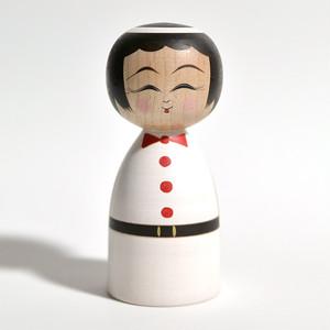 天使こけし(女の子レッド) 約3.5寸 約10.5cm 平賀輝幸 工人(作並系)#0016