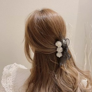 ribbon flower pearl clip