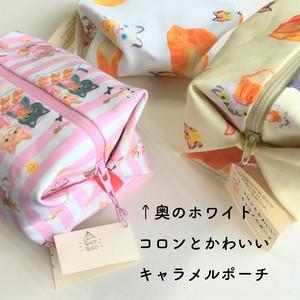 【BoulangerieMinette:常連ニャン(ホワイトver.)】コロンとかわいいキャラメルポーチ