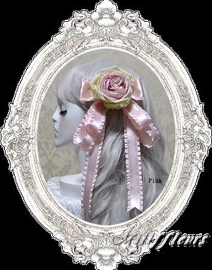 フリルリボンと薔薇のコサージュ
