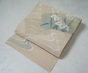 【夏帯】絹麻 絽 名古屋帯 花菖蒲 金銀糸 140