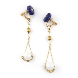 "【2way】 flower glass_vintage_earrings ""lapis"" vea05"
