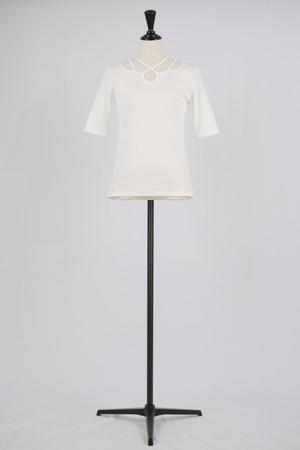 【MURRAL】ivy rib sleeve top - white