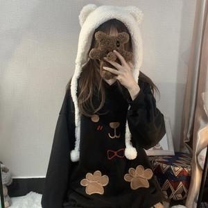 【トップス】レトロスウィートキュートフード付き刺繍カートゥーンプリントパーカー