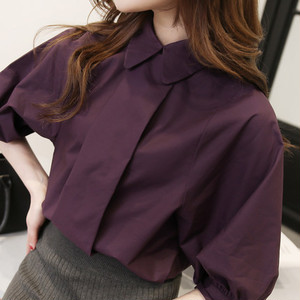 ♡lantern sleeve shirt half Sleeve cotton blouse 273