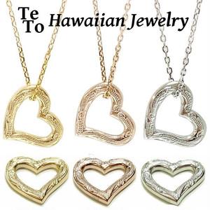【HawaiianJewelry / ハワイアンジュエリー】 オープンハートネックレス/ネックレス ペンダント スクロールハワイアン柄
