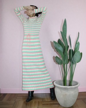 70's Pastel border long knit