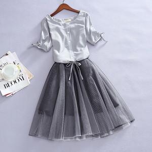 【set】2点セット気質アップボールガウンスカート+半袖ブラウス