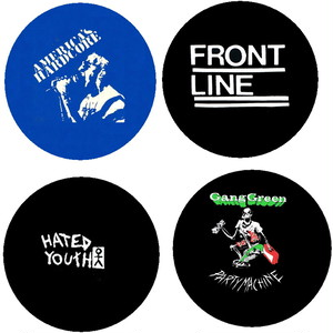 """America's hardcore / Frontline / Hated youth / Gang green - 1"""" pin button"""