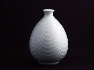 【井上萬二作】白磁線文花瓶