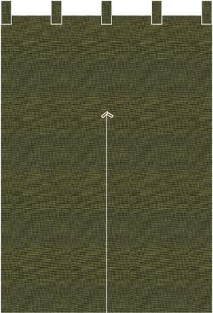 麻糸風半間(はんげん)用防炎のれん:ちとせ緑