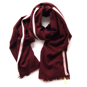 loomer / Super 120's Selvage Color Stole[bordeaux × off white]