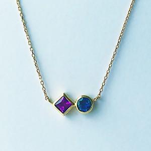 Color Combination Necklace / Sq x Brilliant Cut