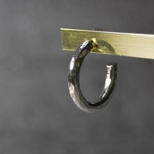 シルバーラウンドプレーンフープピアス 3.0mm幅 鎚目|WKS ROUND PLANE HOOP PIERCED EARRING 3.0 sv hammer finish|SILVER950 銀 FA-251