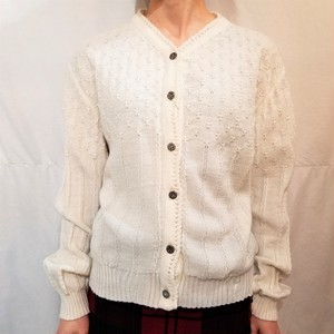 Pattern stitch tyrol cardigan /Made In West Germany [K-680]