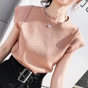 【トップス】韓国版無地ラウンドネックノースリーブニット合わせやすいTシャツ
