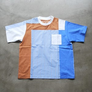 White Mountaineering STRIPE CONTRASTED T-SHIRT