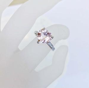 ハートシェイプモルガナイトリング K18WG×モルガナイト×ダイヤモンド