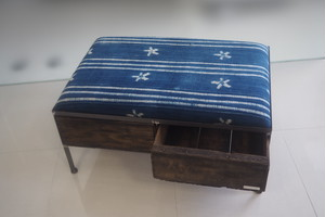 品番UAIW-119  2drawer ottoman[wide/African indigo batik tribal]
